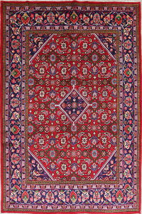 Geometric Red Mahal Persian Hand-Knotted 7x10 Wool Area Rug