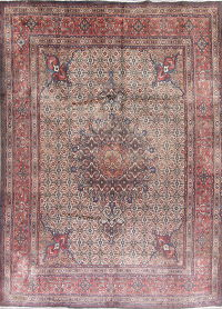 Geometric Mood Persian Hand-Knotted 7x10 Wool Area Rug