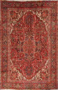 Geometric Red Heriz Persian Hand-Knotted 8x11 Wool Area Rug