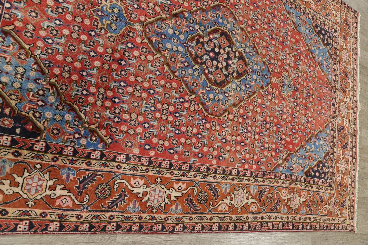 Geometric Red Ardebil Persian Hand-Knotted 6x10 Wool Area Rug image 12