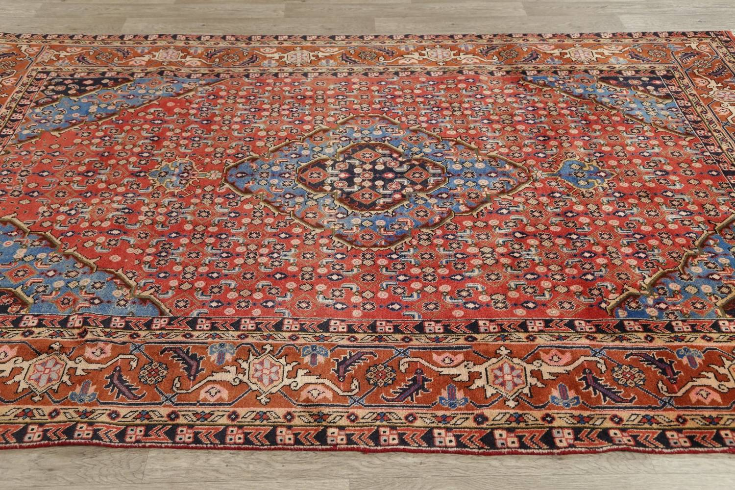 Geometric Red Ardebil Persian Hand-Knotted 6x10 Wool Area Rug image 13