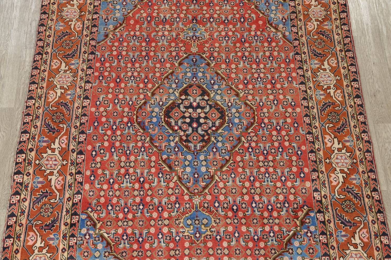 Geometric Red Ardebil Persian Hand-Knotted 6x10 Wool Area Rug image 3