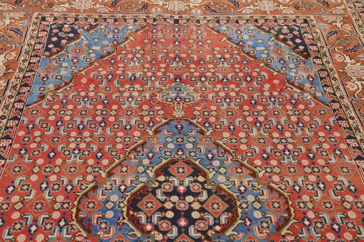 Geometric Red Ardebil Persian Hand-Knotted 6x10 Wool Area Rug image 11