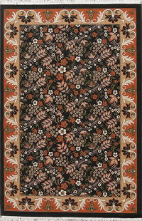 Black Floral Modern Turkish Oriental 5x7 Area Rug