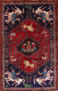 Hunting Design Shiraz Persian Hand-Knotted 6x9 Wool Area Rug