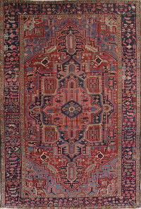 Pre-1900 Vegetable Dye Heriz Serapi Persian Handmade 8x11 Wool Area Rug