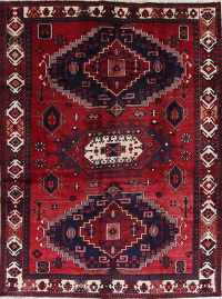 Geometric Red Ardebil Persian Hand-Knotted 7x9 Wool Area Rug