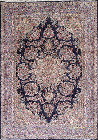 Floral Navy Blue Kerman Persian Hand-Knotted 8x11 Wool Area