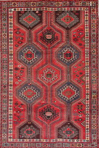 Geometric Red Shiraz Persian Hand-Knotted 6x10 Wool Area Rug