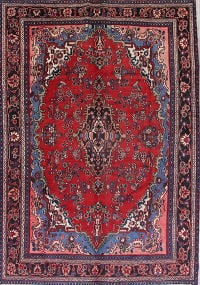 Hamedan Persian Antique Hand-Knotted 7x10 Wool Area Rug