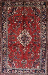 Floral Red Lilian Persian Hand-Knotted 7x10 Wool Area Rug
