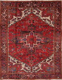 Geometric Red Heriz Persian Hand-Knotted 7x9 Wool Area Rug