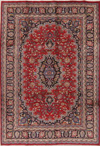 Traditional Floral Mashad Persian Hand-Knotted 6x9 Wool Area Rug