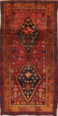 Geometric Heriz Persian Hand-Knotted 6x9 Wool Runner Rug