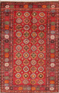 Geometric Red Zanjan Persian Hand-Knotted 6x10 Wool Area Rug