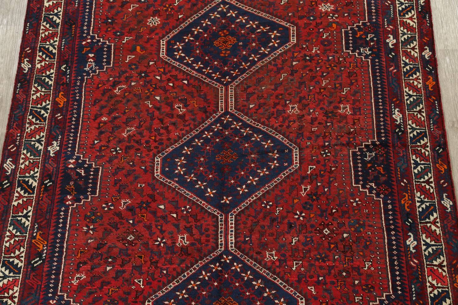 Antique Tribal Qashqai Persian Hand-Knotted 7x10 Wool Area Rug image 3