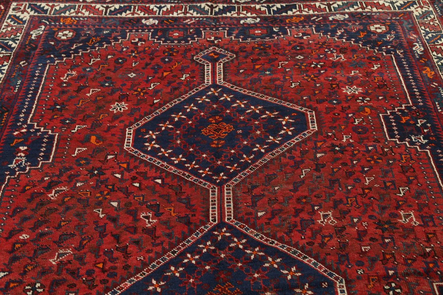 Antique Tribal Qashqai Persian Hand-Knotted 7x10 Wool Area Rug image 12