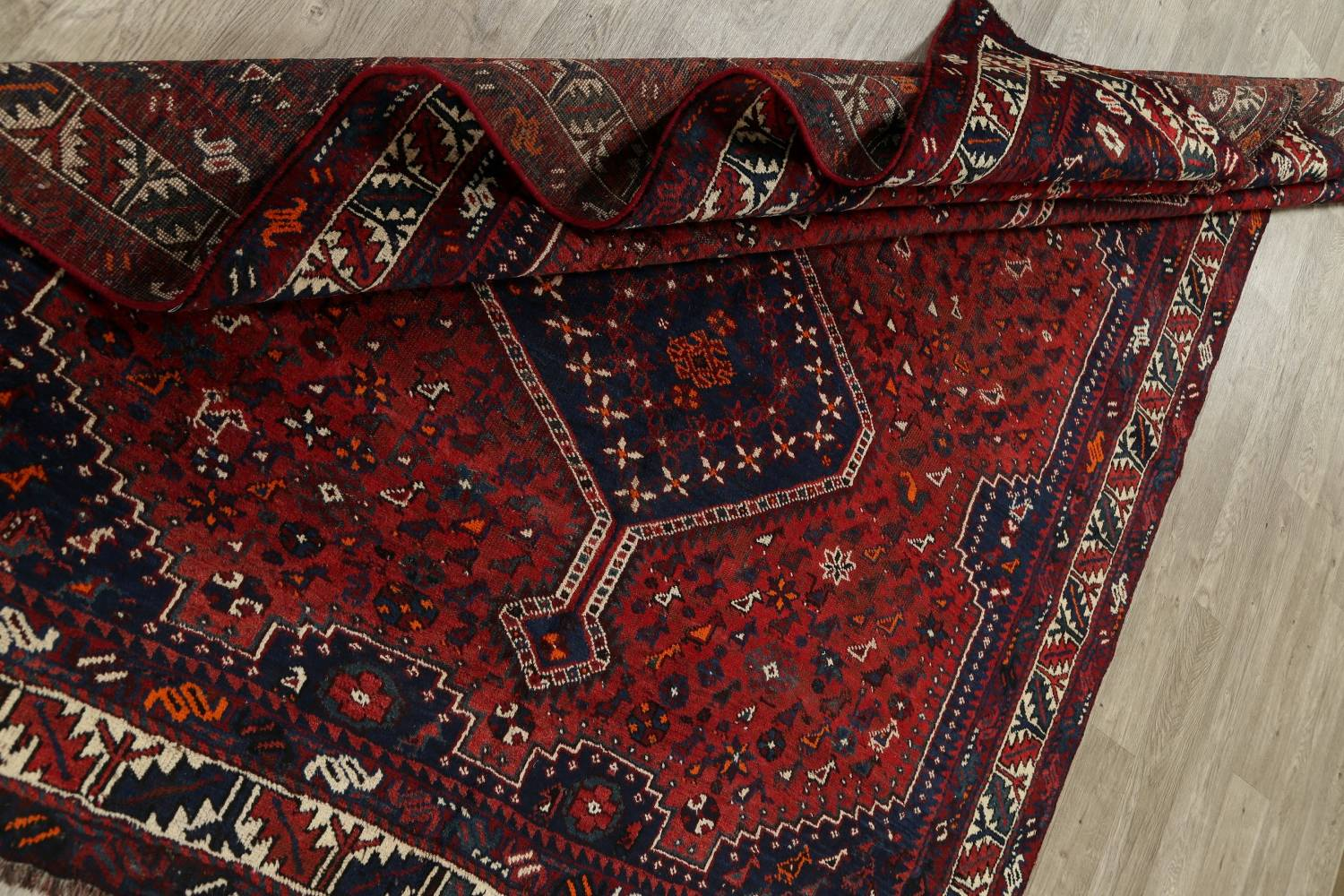 Antique Tribal Qashqai Persian Hand-Knotted 7x10 Wool Area Rug image 16