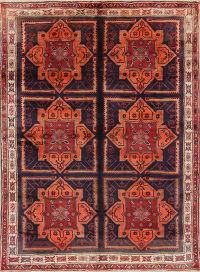 Geometric Zanjan Persian Hand-Knotted 7x9 Wool Area Rug