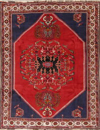Animal Pictorial Kashkoli Persian Hand-Knotted 7x9 Wool Area Rug