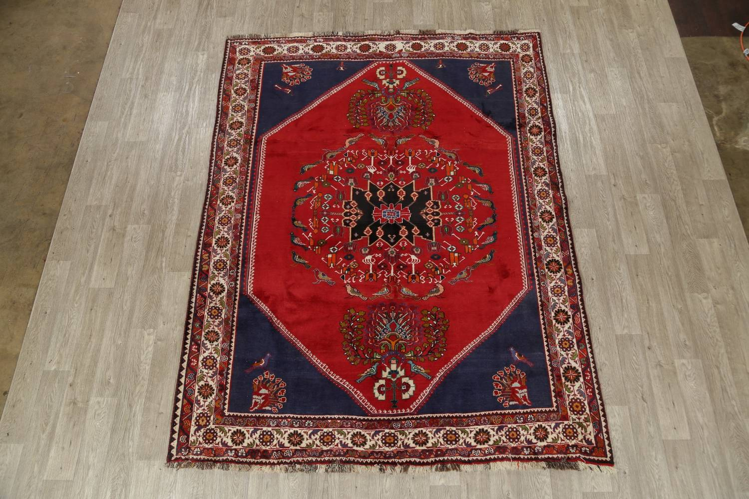 Animal Pictorial Kashkoli Persian Hand-Knotted 7x9 Wool Area Rug image 2