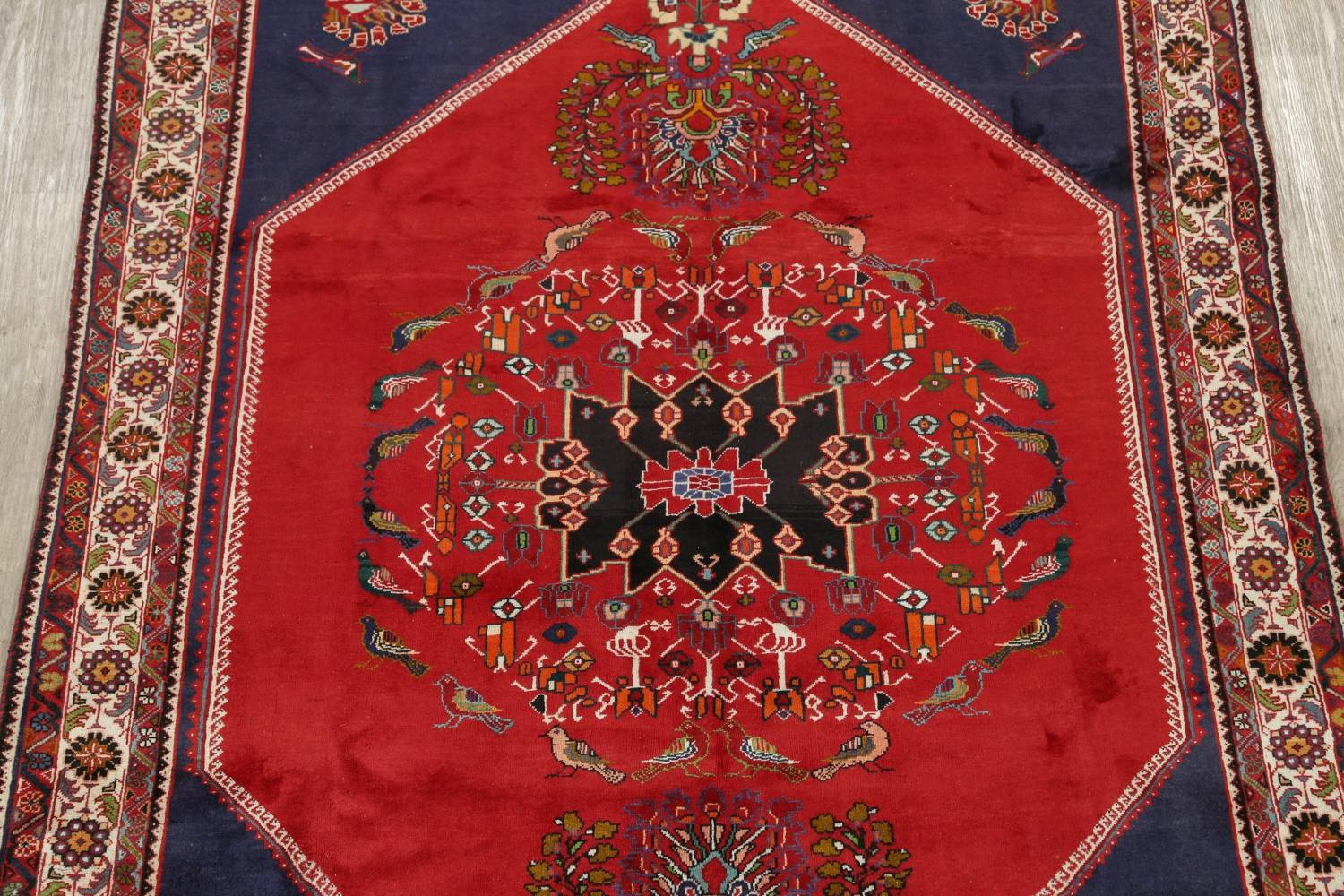 Animal Pictorial Kashkoli Persian Hand-Knotted 7x9 Wool Area Rug image 3