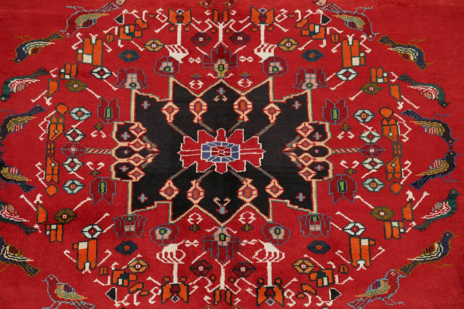 Animal Pictorial Kashkoli Persian Hand-Knotted 7x9 Wool Area Rug image 4