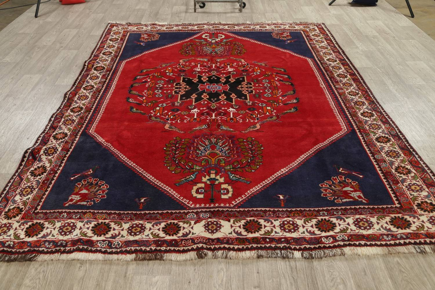 Animal Pictorial Kashkoli Persian Hand-Knotted 7x9 Wool Area Rug image 14