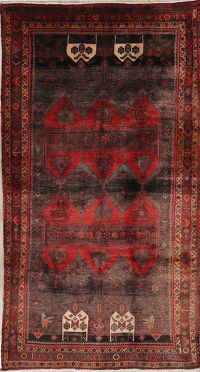 Tribal Geometric Zanjan Persian Hand-Knotted 5x10 Wool Runner Rug
