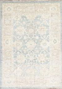Light Blue Geometric Oushak Turkish Oriental 7x10 Wool Area Rug