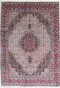 Ivory Geometric Mood Persian Hand-Knotted 7x10 Wool Area Rug