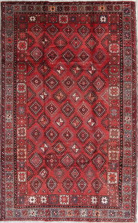 Geometric Red Balouch Persian Hand-Knotted 5x8 Wool Area Rug
