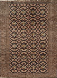Geometric Brown Turkoman Persian Hand-Knotted 6x8 Wool Area Rug
