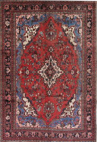 Geometric Red Hamedan Persian Hand-Knotted 7x10 Wool Area Rug
