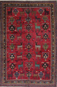 Animal Pictorial Abadeh Persian Hand-Knotted 7x10 Wool Area Rug