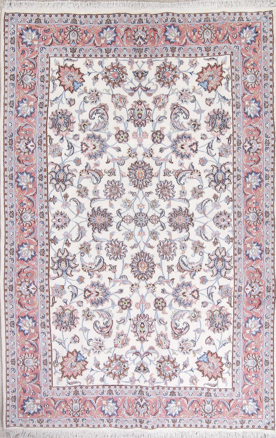 Wool Silk Fl White Tabriz Persian Hand Knotted 6x10 Area Rug