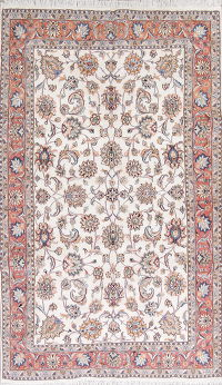 Floral Ivory Tabriz Persian Hand-Knotted 6x10 Wool/Silk Area Rug