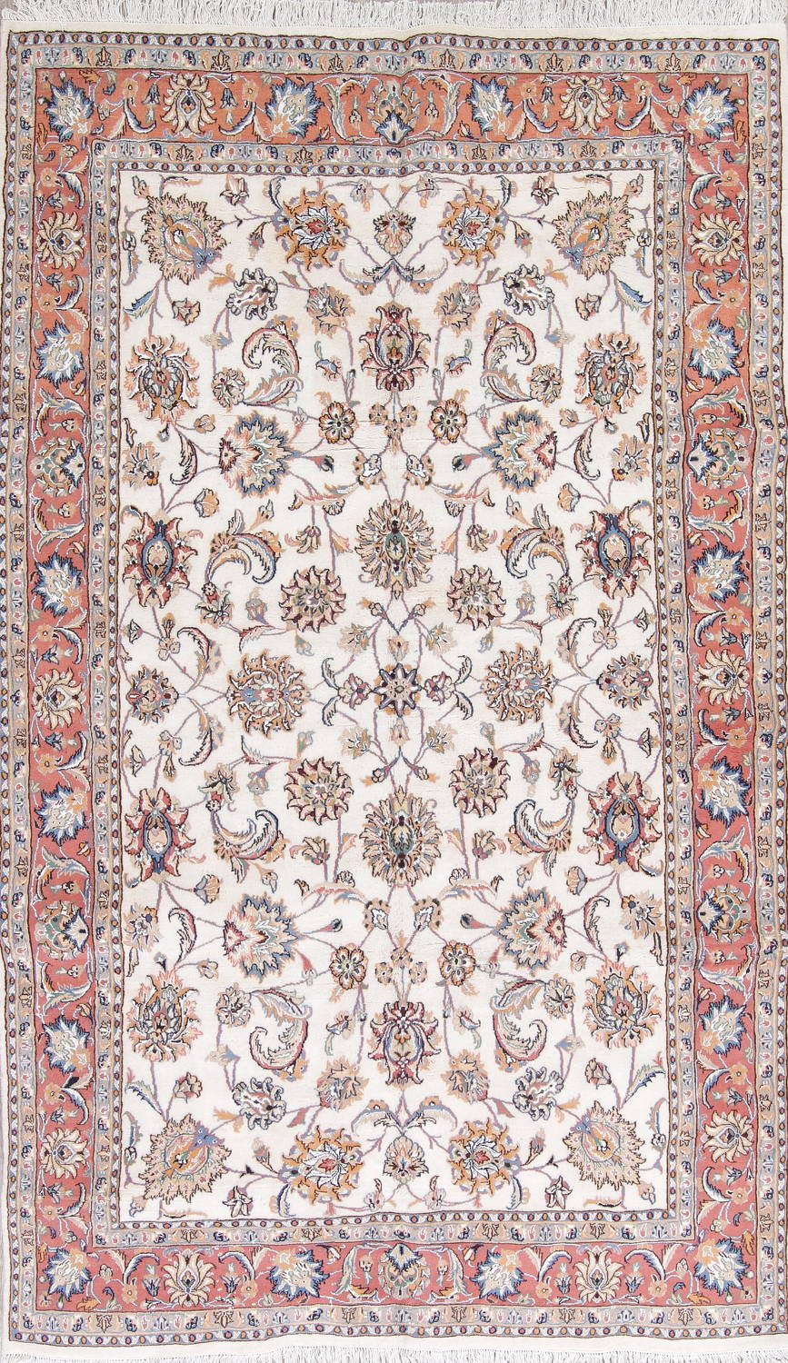 Fl Ivory Tabriz Persian Hand Knotted 6x10 Wool Silk Area Rug
