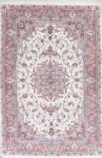 Wool/Silk Floral White Tabriz Persian Area Rug 6x10
