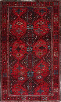 Geometric Red Zanjan Persian Hand-Knotted 5x9 Wool Area Rug