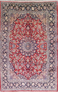 Traditional Isfahan Persian Vintage Hand-Knotted 7x11 Area Rug