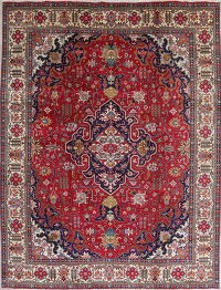 Geometric Red Tabriz Persian Hand-Knotted 8x11 Wool Area Rug