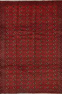 Geometric Red Balouch Persian Hand-Knotted 6x9 Wool Area Rug