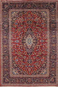 Traditional Floral Kashan Persian Hand-Knotted 6x9 Wool Area Rug