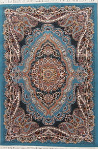 Floral Blue Tabriz Turkish Oriental 5x7 Acrylic Wool Area Rug