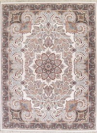 Floral White Tabriz Turkish Oriental 10x13 Acrylic Wool Area Rug