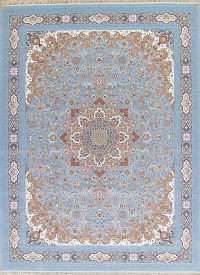 Floral Light Blue Tabriz Turkish Oriental 10x13 Acrylic Wool Area Rug