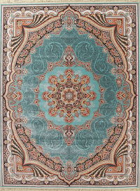 Floral Teal Tabriz Turkish Oriental 10x13 Acrylic Wool Area Rug