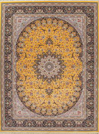 Floral Gold Tabriz Turkish Oriental 10x13 Acrylic Wool Area Rug