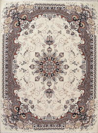 Floral Ivory Oushak Turkish Oriental 7x10 Area Rug